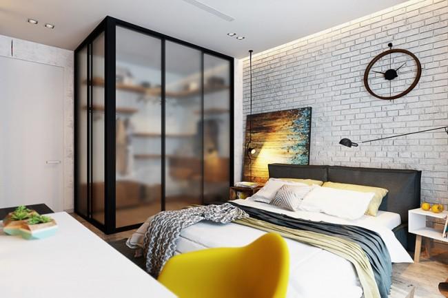 Визуализация спальни с облицовкой белым декоративным камнем в изголовье и полупрозрачной гардеробной в углу
