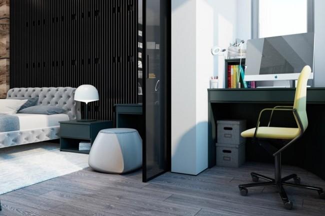 Планирование небольшого кабинета в лоджии, примыкающей к спальне