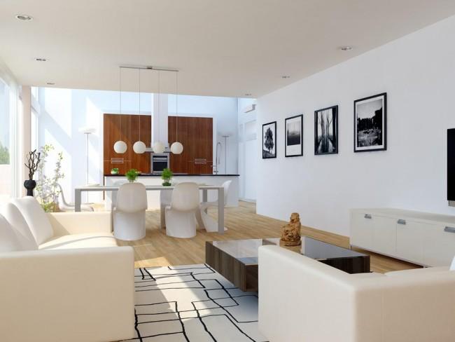 Солнечная двухкомнатная квартира в белых и нейтральных тонах