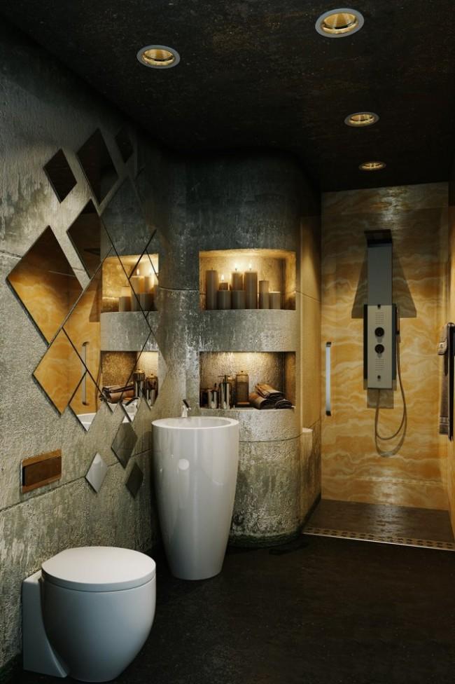 Демонстрация уникальной атмосферы затемненной ванной комнаты с оригинальным расположением зеркал