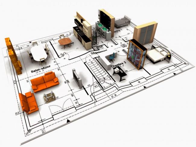 Схема расстановки мебели в трехкомнатной квартире