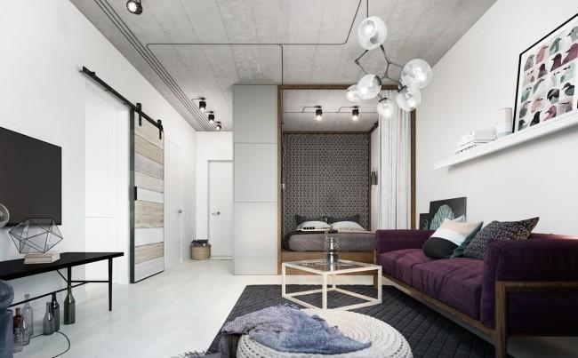 Контрастные предметы декора в белом помещении