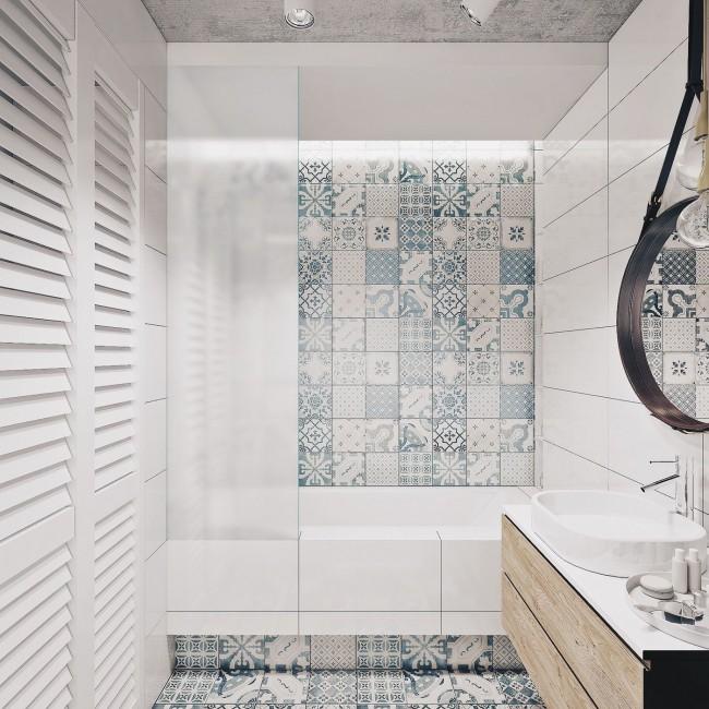 Визуализация современной ванной комнаты с акцентной стеной и полом из кафеля с геометрическим узором