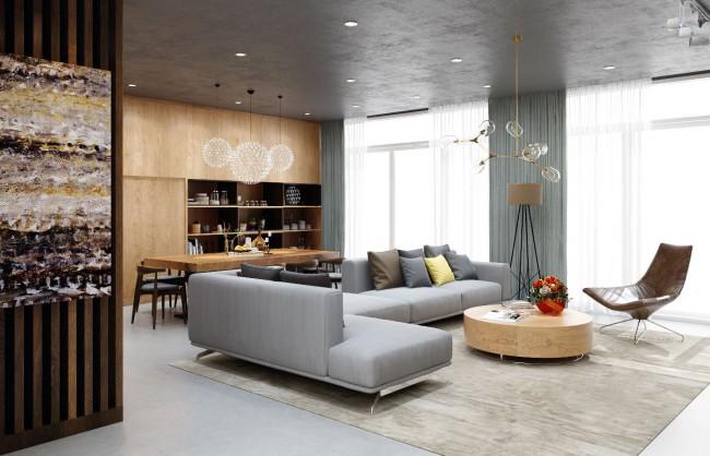 Визуализация гостиной в нейтральных тонах, позволяющая оценить дизайн потолка с декоративной штукатуркой