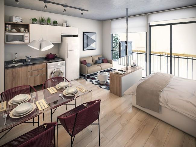 Свободно спланированная однокомнатная квартира-студия с террасой в новострое