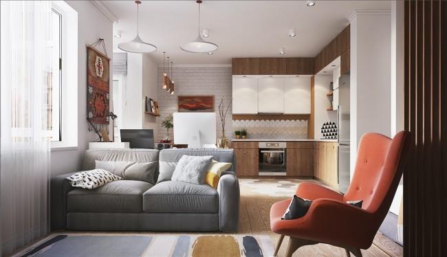Проект будущей перепланировки двухкомнатной квартиры
