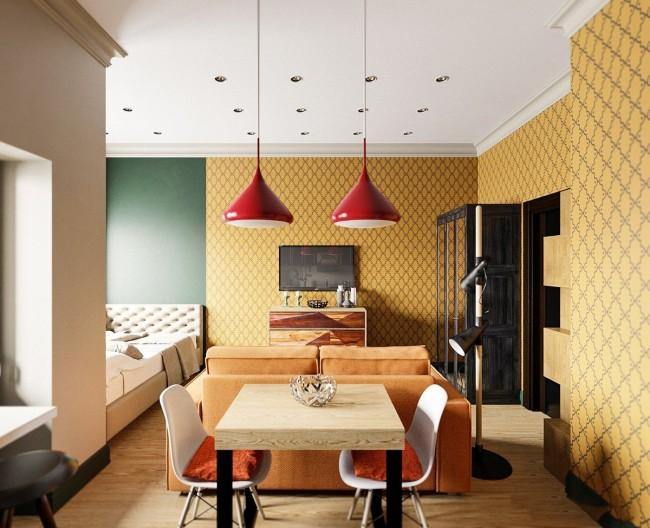 Бюджетная теплая отделка в оттенках шафрана в миниатюрной квартире-студии