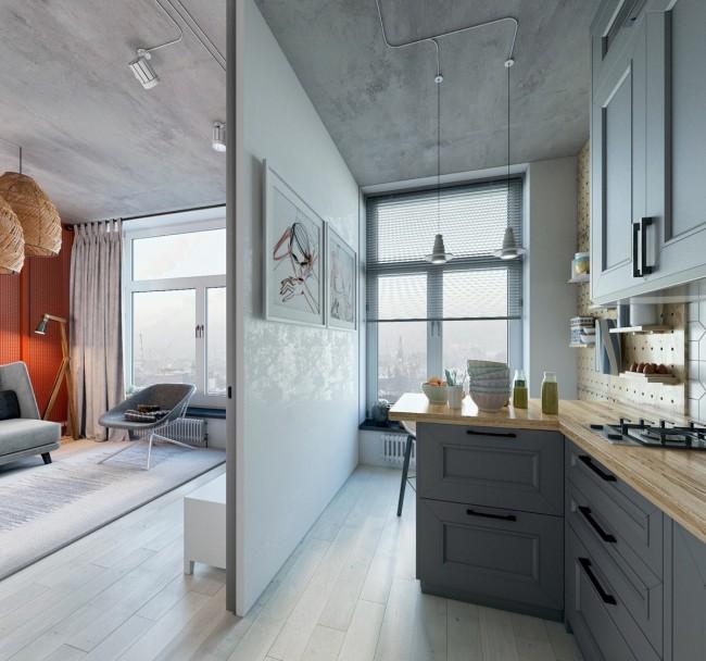 Пример зонирования квартиры со свободной планировкой тонкими гипсокартонными перегородками