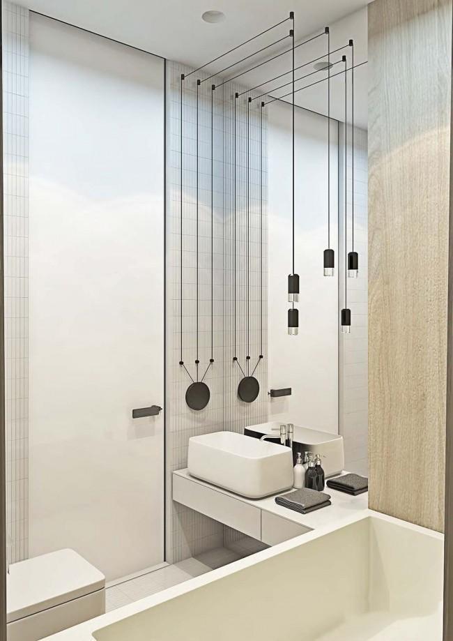 Визуализация современной компактной ванной комнаты площадью в 3 кв. м