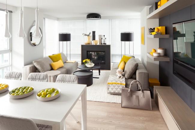 Настроение современного модерна в желто-серой гамме интерьера