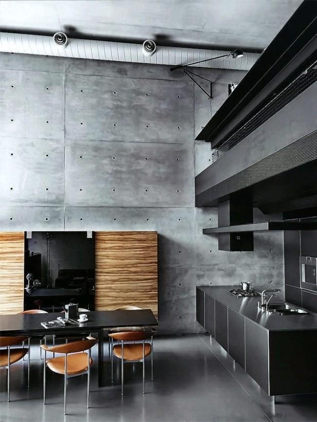 Стильная кухня в стиле хай-тек с добавлением дерева в интерьере
