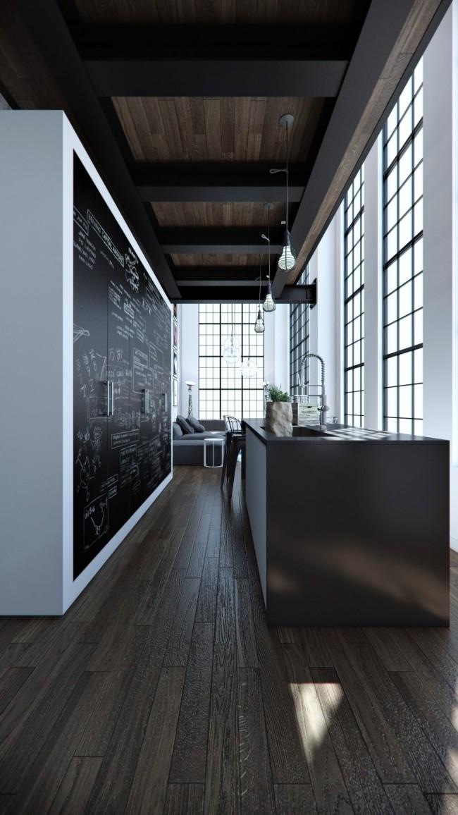 Массив дуба, окна на черных металлических профилях и грифельные фасады шкафов