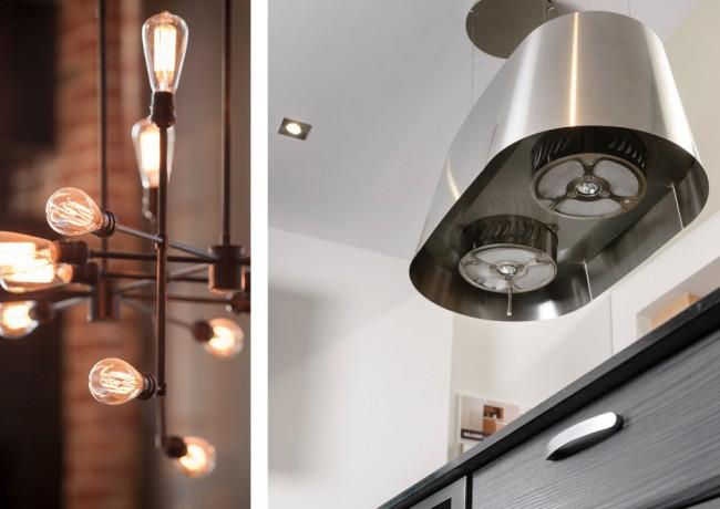 Индустриальный светильник и необычная подвесная вытяжка