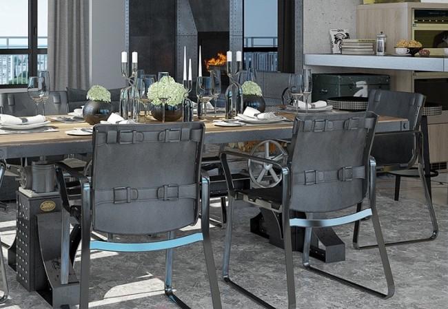 Обеденные стулья, декорированные кожаными ремнями