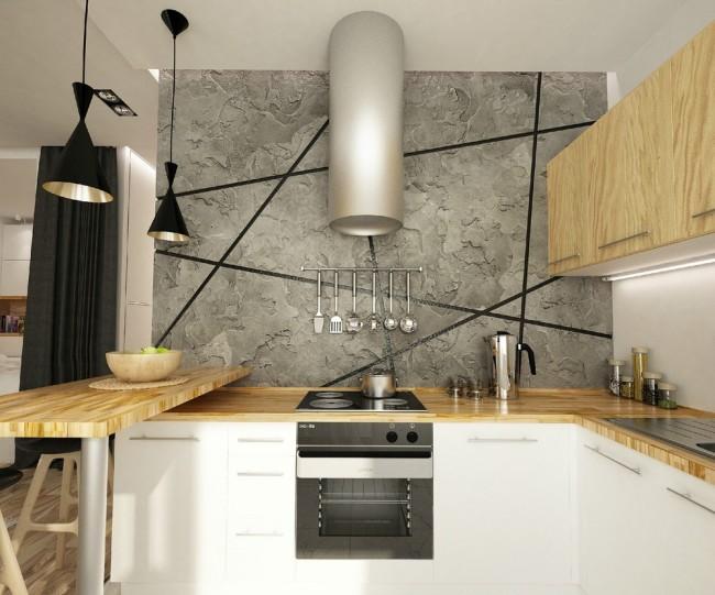 Кухонный гарнитур для маленькой кухни. Проект кухни в студии, где зонирующей чертой выступает барная стойка