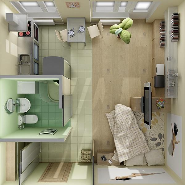 """Проект перепланировки типовой """"хрущевской"""" однокомнатной квартиры в просторную студию, где зонирующим элементом выступает обеденный стол на двоих, а кухня - однорядная и без настенных шкафов"""