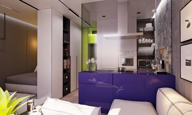 Живые, насыщенные, заряжающие энергией цвета в маленькой квартире с современной меблировкой