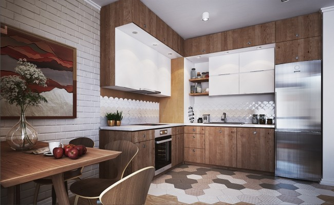 Дизайн-проект с Г-образным комплектом шкафов с древесным рисунком, подчеркнутым чистотой белого цвета. Обратите внимание на антресоли - это самый популярный сейчас, и экономящий место, вариант
