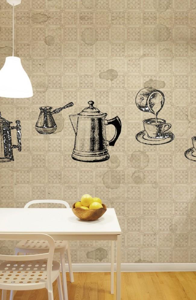 Незаменимый утренний ритуал на кухне, реалистично изображенный на обоях