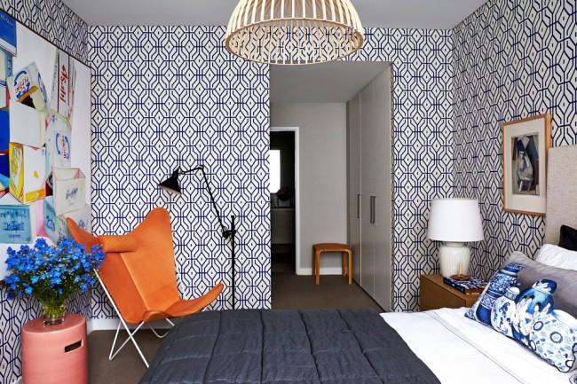 Незабываемый яркий дизайнерский декор спальни в стиле модерн