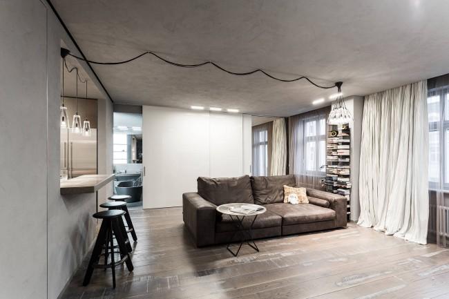 Декоративная штукатурка - находка, если вам понравилась идея бетонного потолка в стиле лофт, но вас ограничивают технические параметры помещения