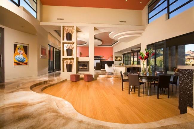 Многоуровневый потолок может быть любой формы и не обязательно стандартной прямоугольной. Чем интереснее форма элементов подвесного потолка, тем оригинальнее общий дизайн