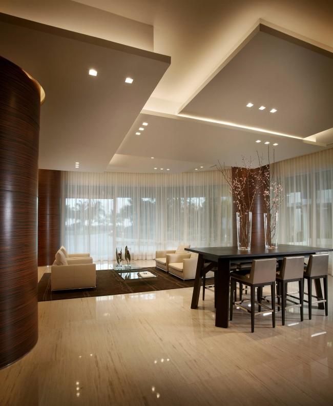Потолок из гипсокартона в зале. Для помещений с высокими потолками гипсокартон решает практически любую задачу из эстетических и практических