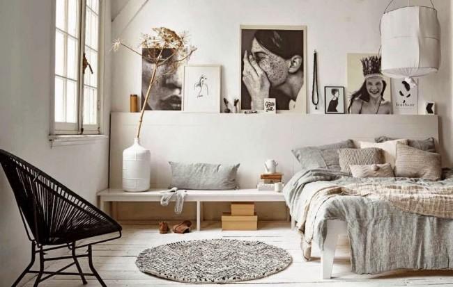 Скандинавская спальня в пастельных тонах