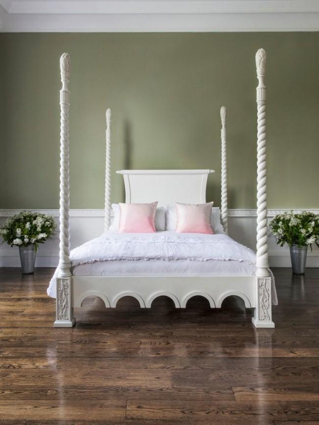 Оливковые цвет стен в оформлении интерьера спальни
