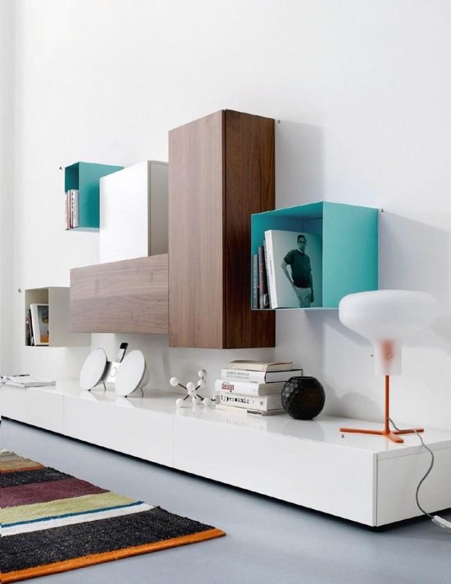 Сочетание разных материалов и оттенков для стенки в стиле в минимализм