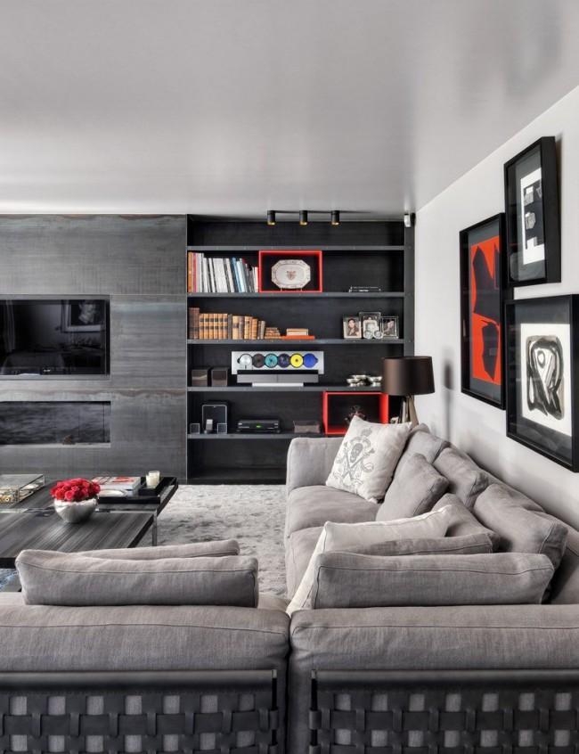 Красивая темно серая стенка идеально подходит под интерьер гостиной
