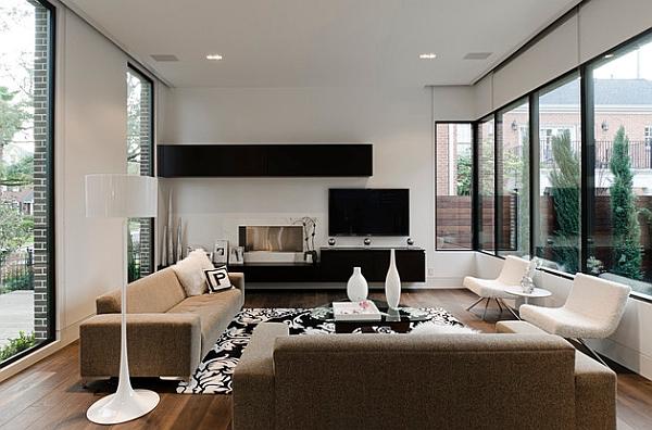 Несколько функциональных полок в тандеме с тумбой под ТВ вполне могут выполнять функции небольшой стенки