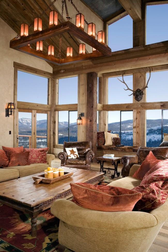 Брашированный стол в интерьере гостиной стиля рустика