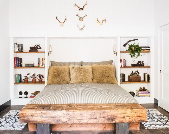 Состаренное дерево в дизайне кровати