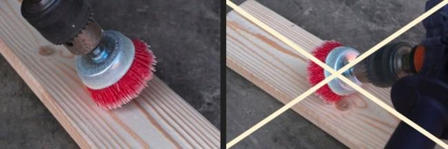 Движение инструмента необходимо осуществлять по направлению волокон древесины