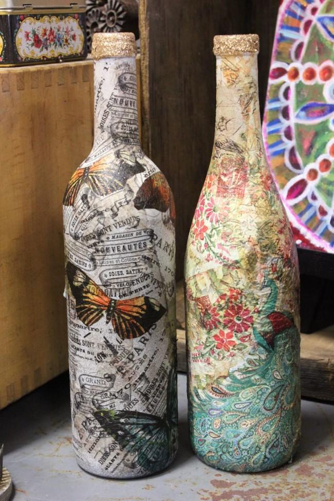 Стеклянные бутылки в технике декупаж