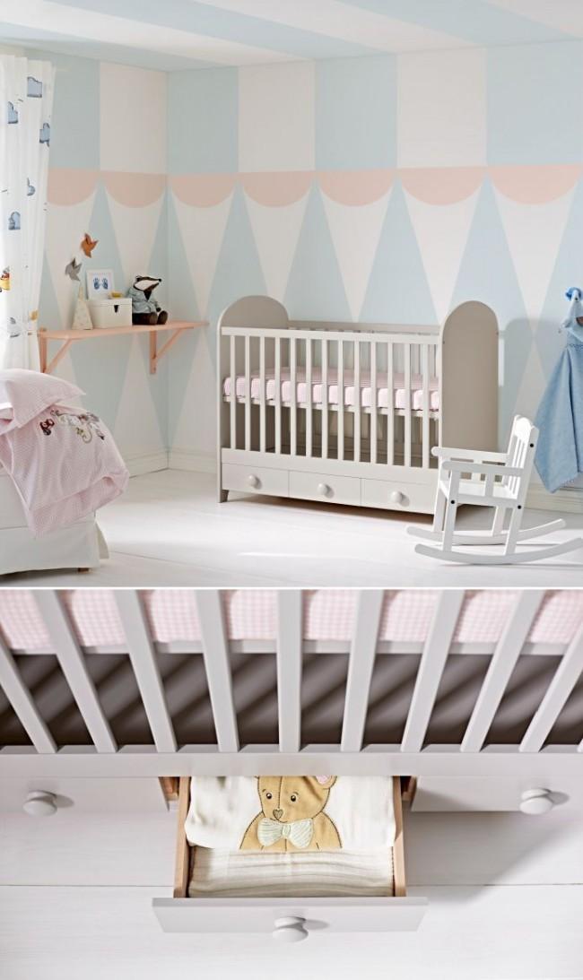 Удобными являются варианты детских кроваток с выдвижными ящиками для хранения вещей