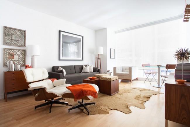 Просторная гостиная с раскладным диваном