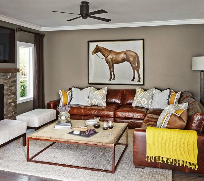 Кожаный угловой диван смотрится очень эффектно