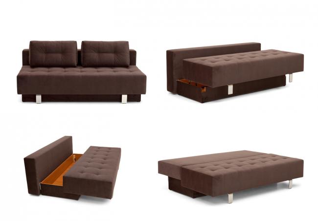 Один из главных плюсов дивана-еврокнижки это наличие ящика для хранения белья