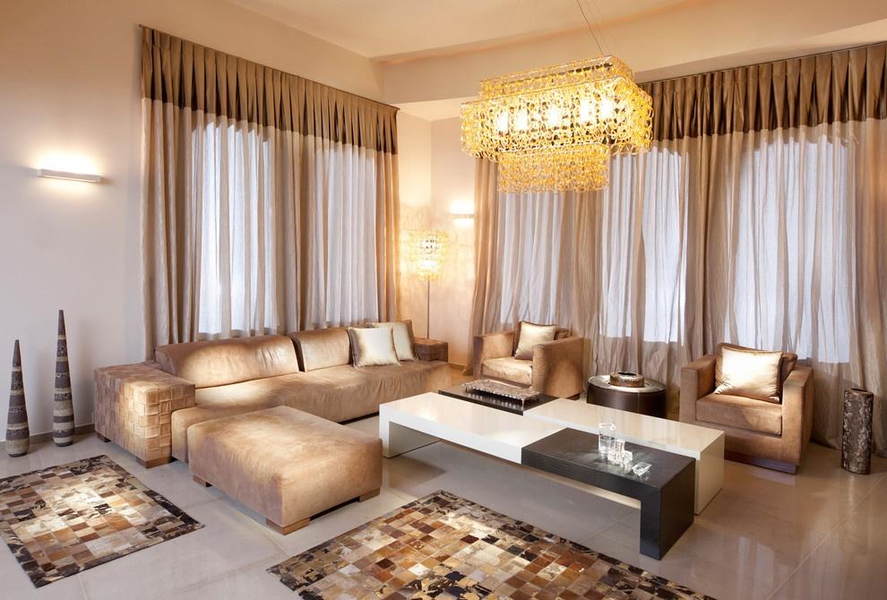Современный дизайн портьер и штор для гостиной