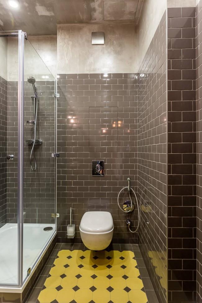 Душевая кабина в интерьере ванной стиля лофт