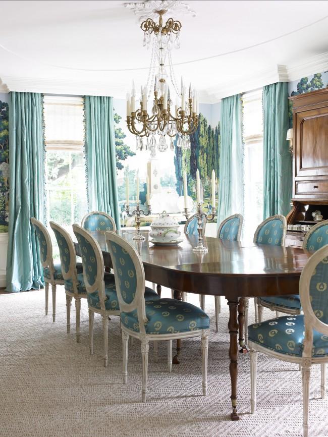 Шикарный интерьер столовой в бирюзовом цвете