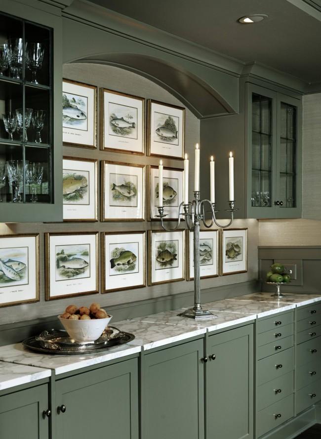 Изящный канделябр в дизайне кухни морского стиля