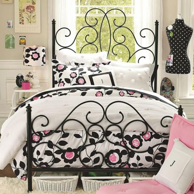 Великолепная односпальная кровать в дизайне спальни для девочки-подростка