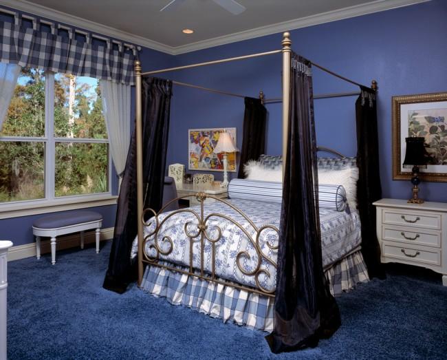 Синий цвет в дизайне спальни действует на организм успокаивающе