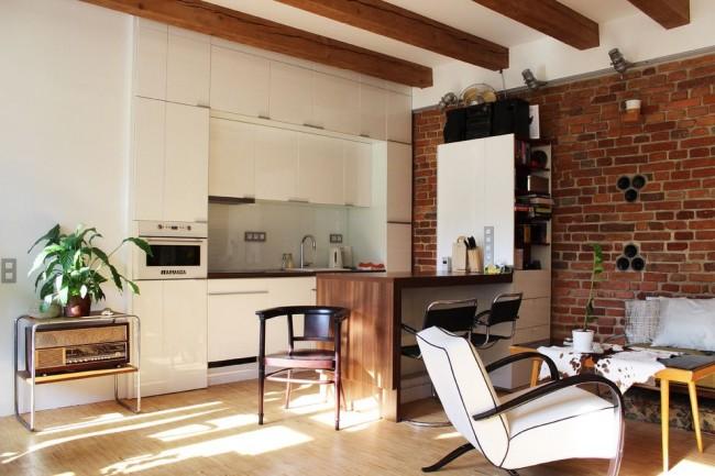 Маленькая кухня-студия в стиле лофт