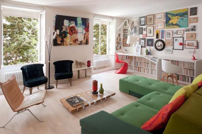 Стиль модерн в интерьере гостиной комнаты