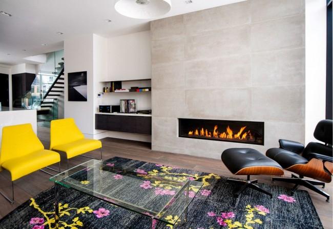 Элементы яркой мебели в интерьере стиля модерн являются популярным явлением