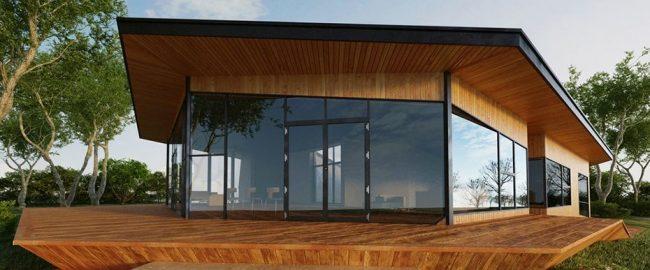 Индивидуальный проект одноэтажного дома с нестандартной геометрией